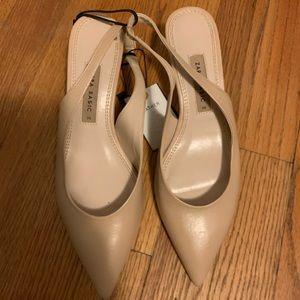 Leather Nude kitten heels